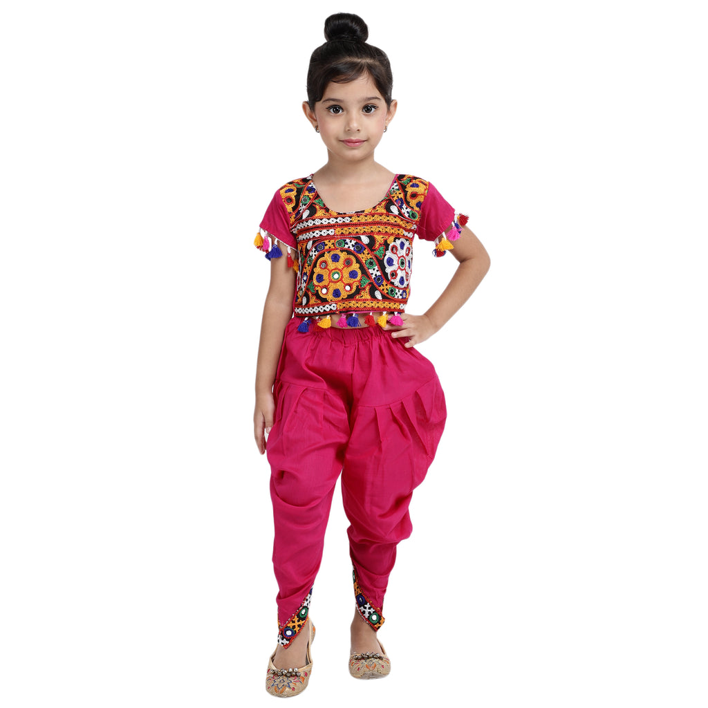Embroidered choli with dhoti-PINK - BownBee - Creating Special Moments
