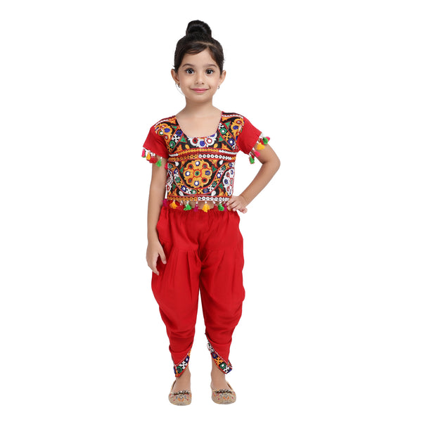Embroidered choli with dhoti-Red