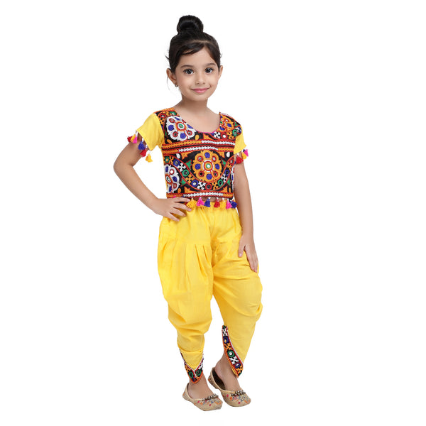 Embroidered choli with dhoti-Yellow
