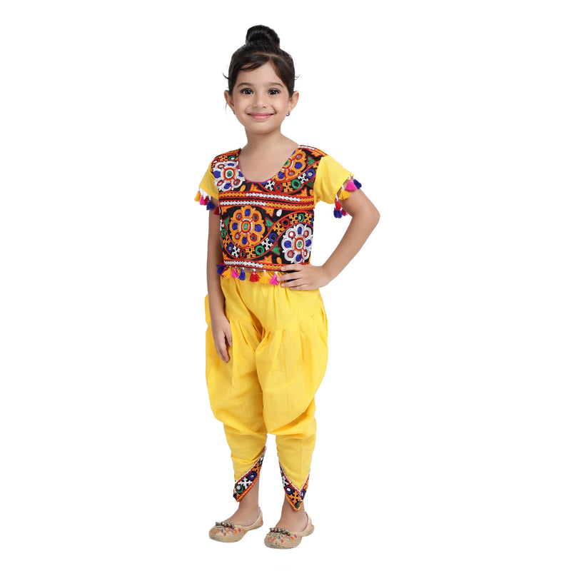 Embroidered choli with dhoti-Yellow - BownBee - Creating Special Moments