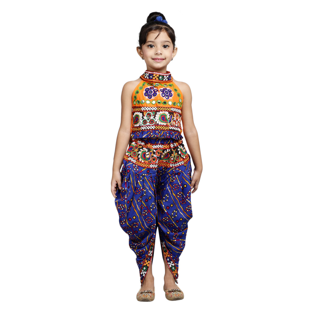 Halter Neck Choli With Dhoti-Orange