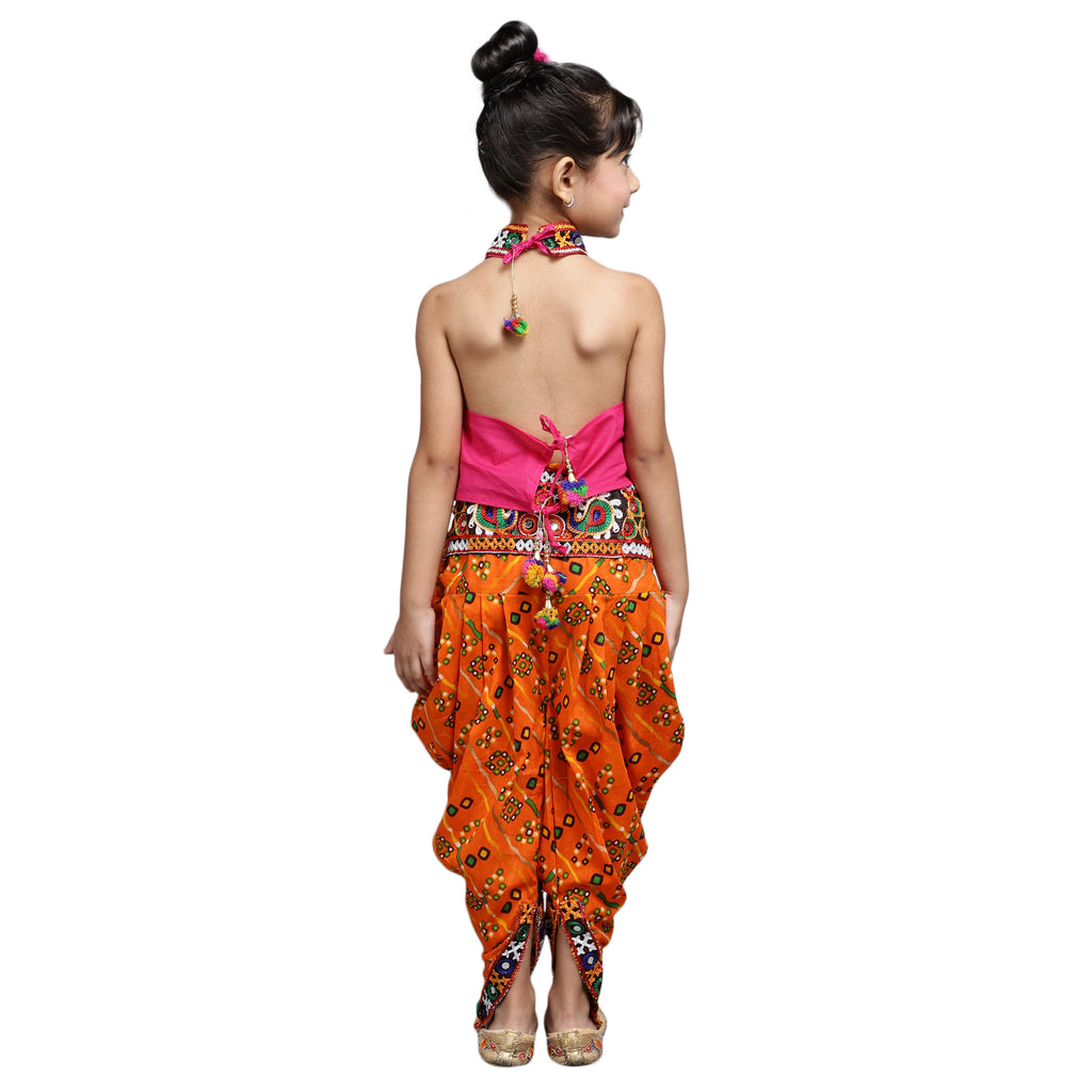 Halter Neck Choli With Dhoti-Pink