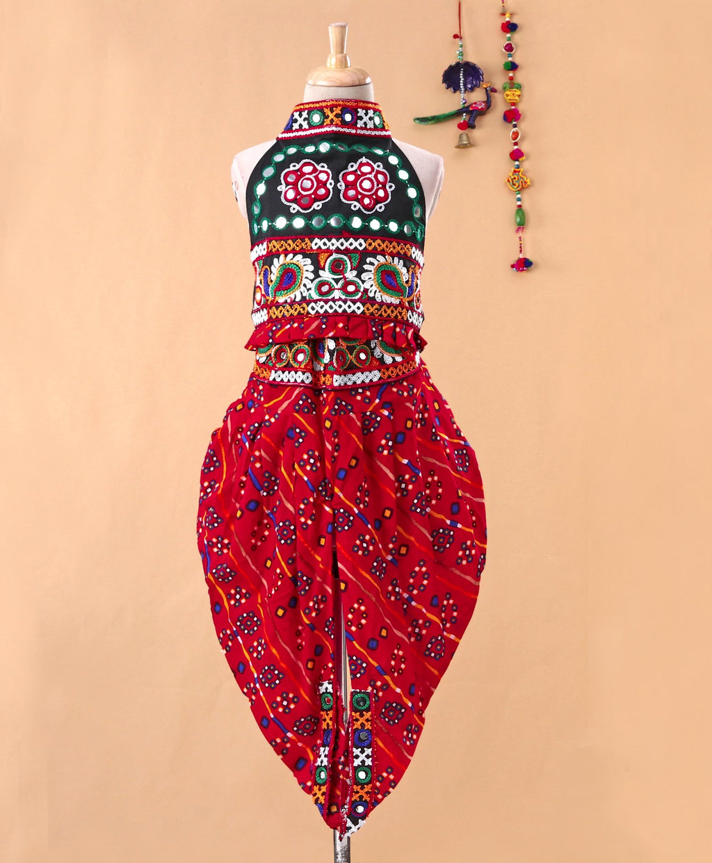 Halter Neck Choli With Dhoti-Red