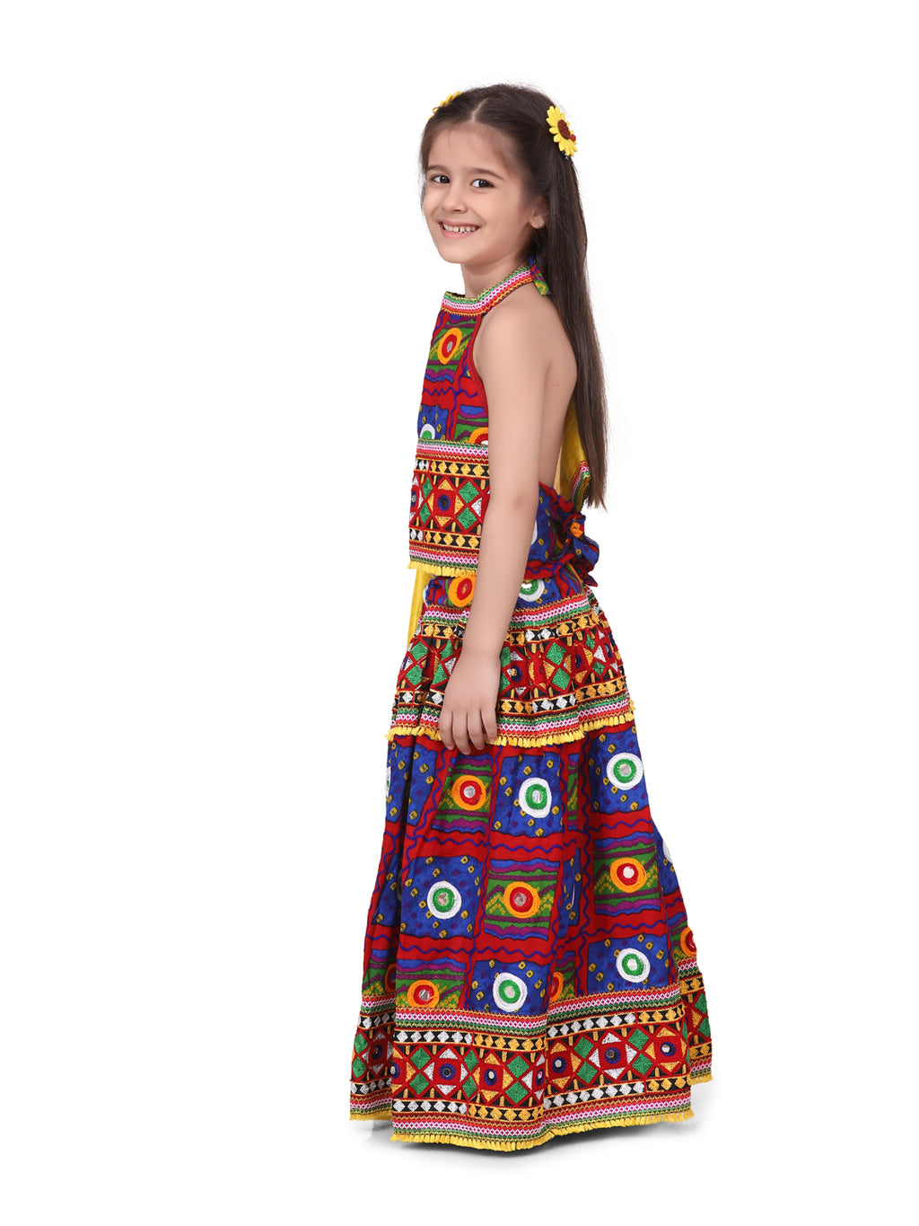 Halter Neck Print With Embroidery Chaniya Choli- Blue