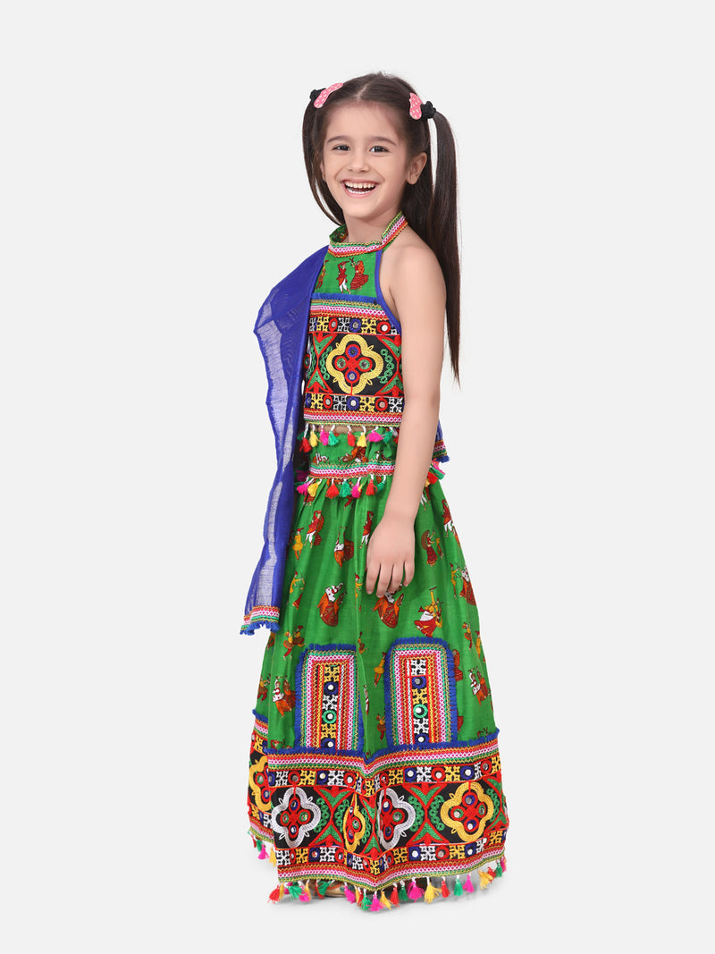 Halter Neck Dandiya Print Chaniya Choli- Green