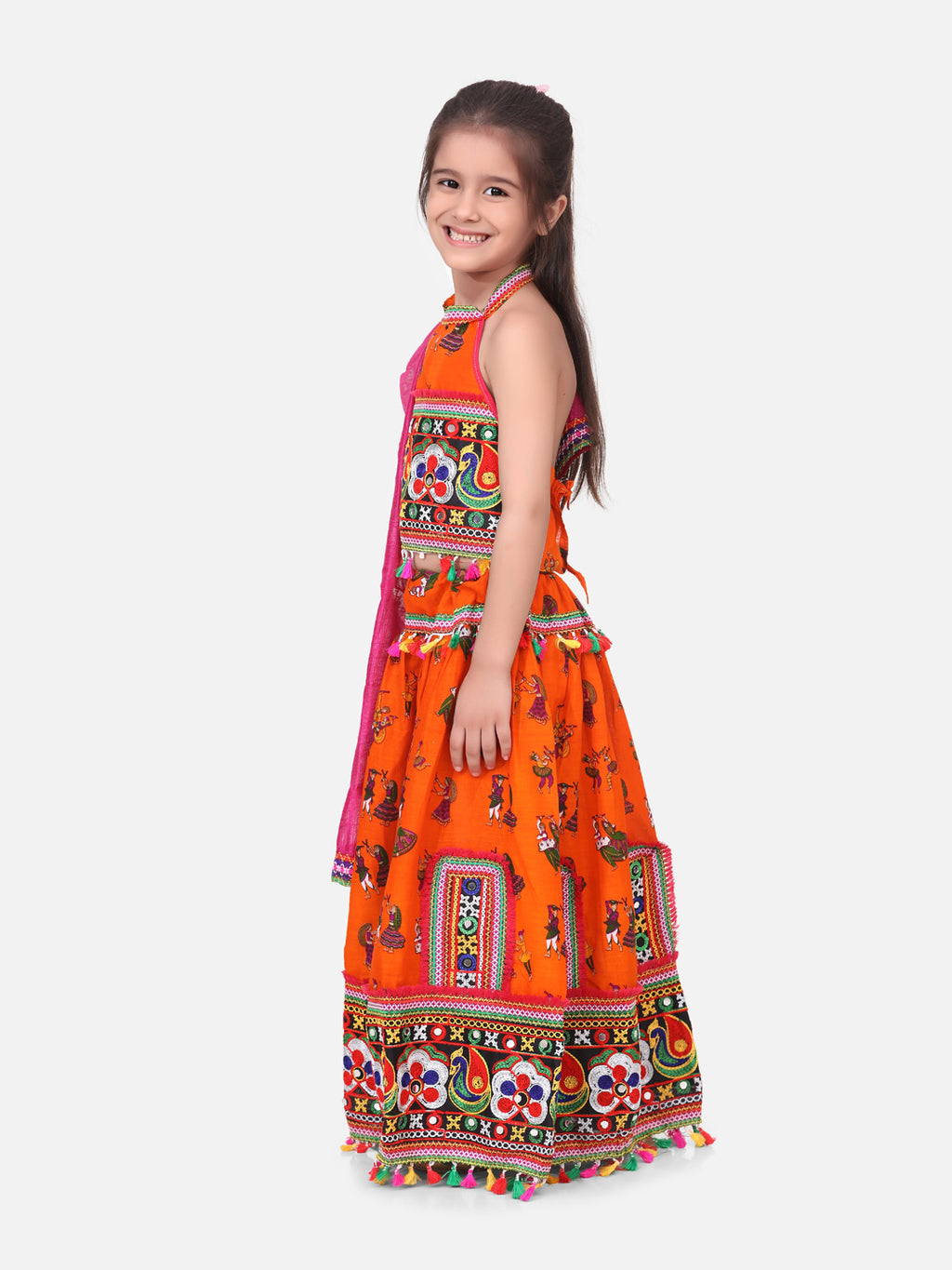 Halter Neck Dandiya Print Chaniya Choli- Orange