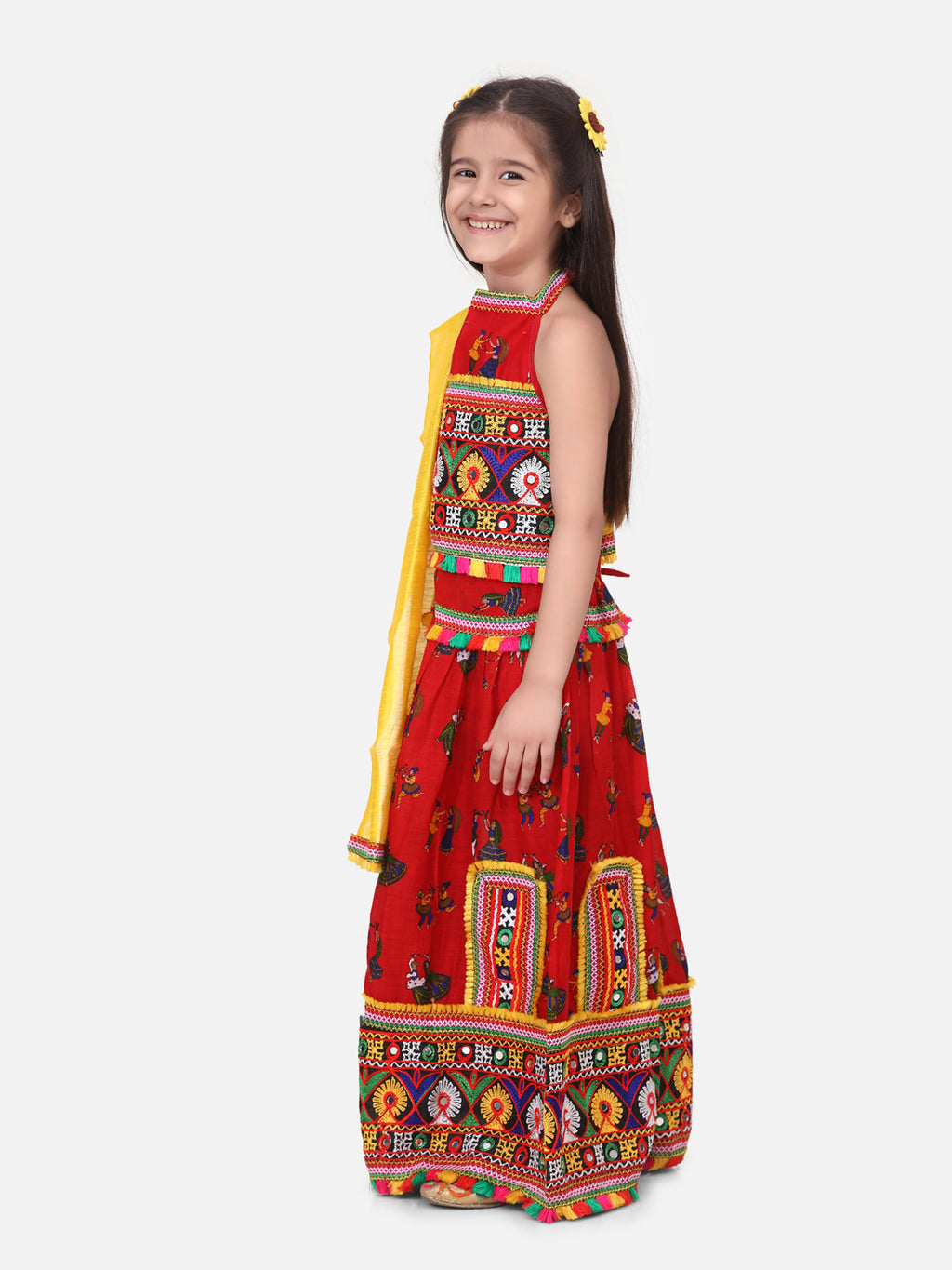 Halter Neck Dandiya Print Chaniya Choli- Red
