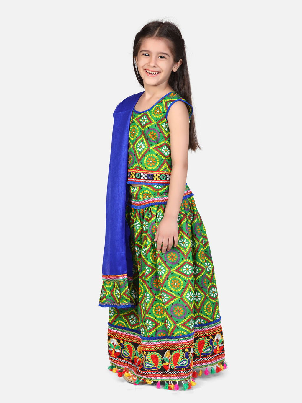 BownBee Bandhani Chaniya Choli With Frill Dupatta- Green