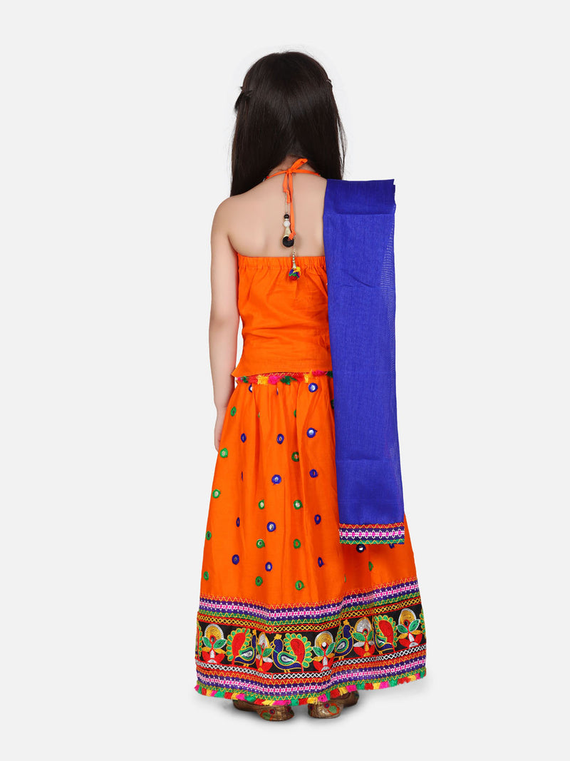 Mirror Embroidery Halter Neck Chaniya Choli-Orange