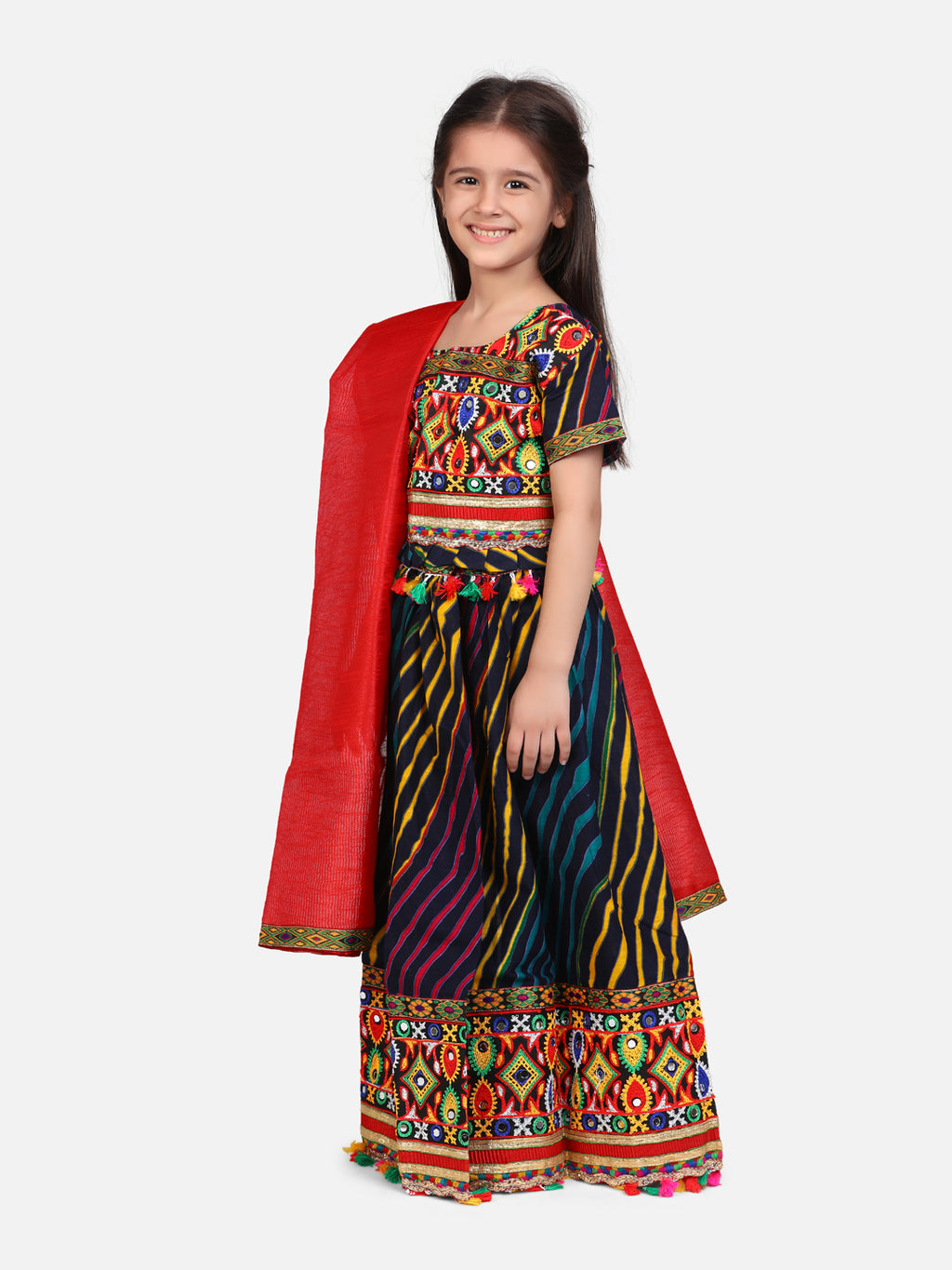 BownBee Leheriya Half Sleeve Chaniya Choli- Multi