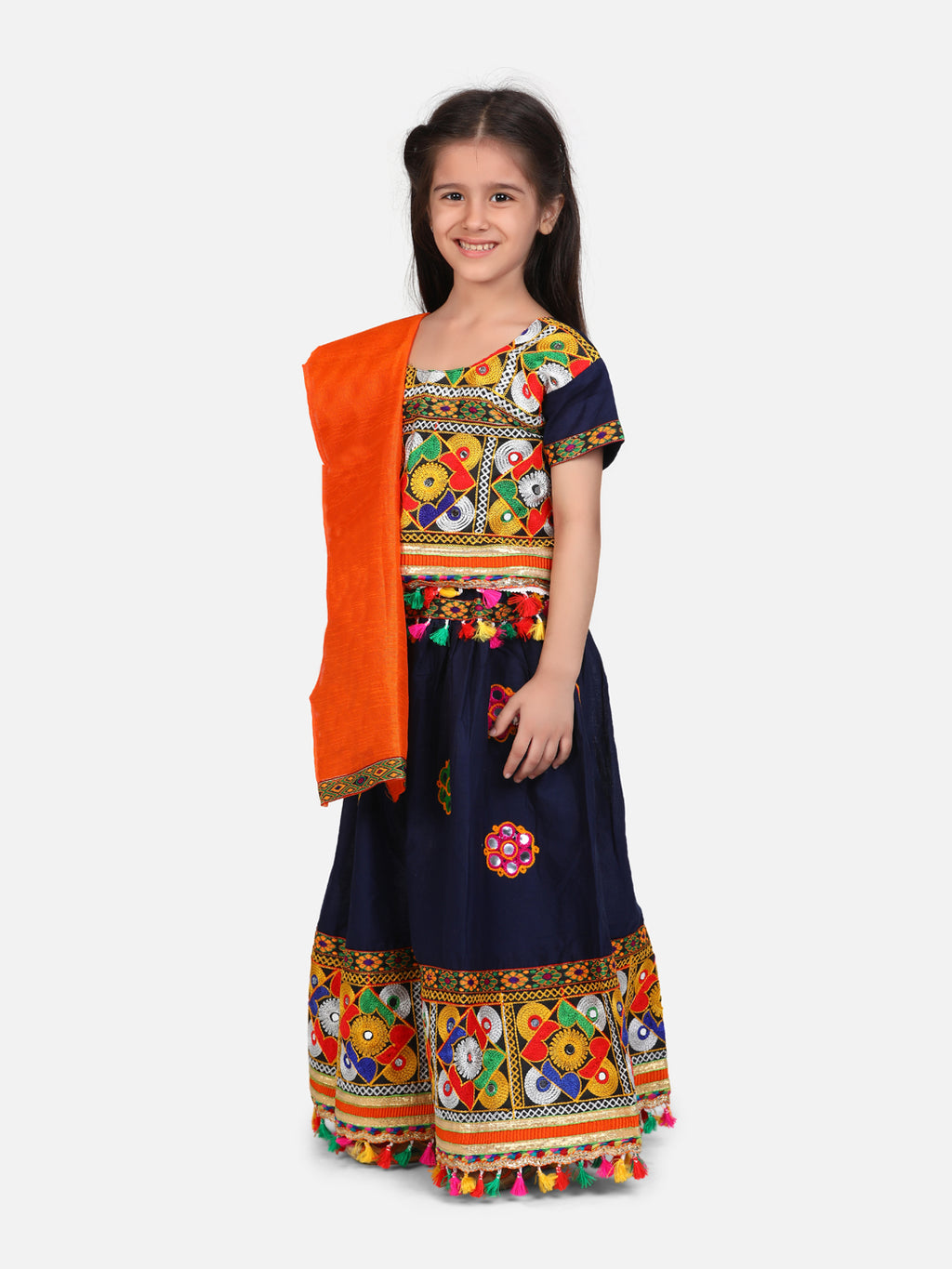 BownBee Mirror Embroidery Chaniya Choli- Navy Blue