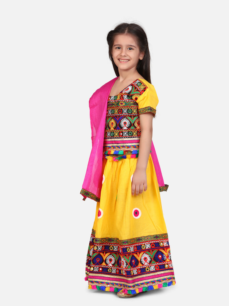 BownBee Mirror Embroidery Chaniya Choli- Yellow