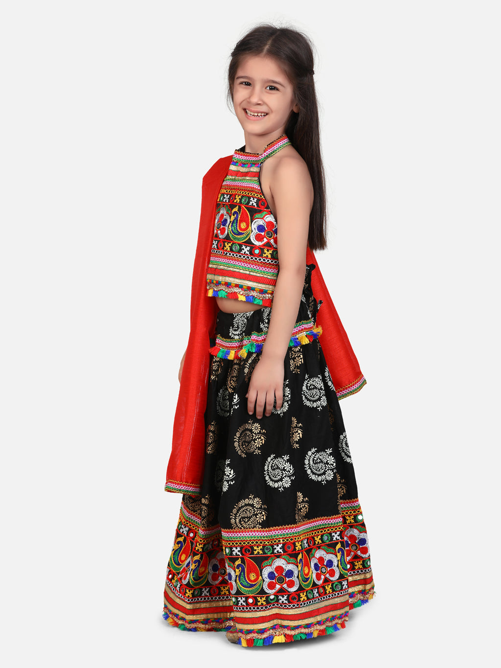 BownBee Gold Print Halter Neck Chaniya Choli-Black
