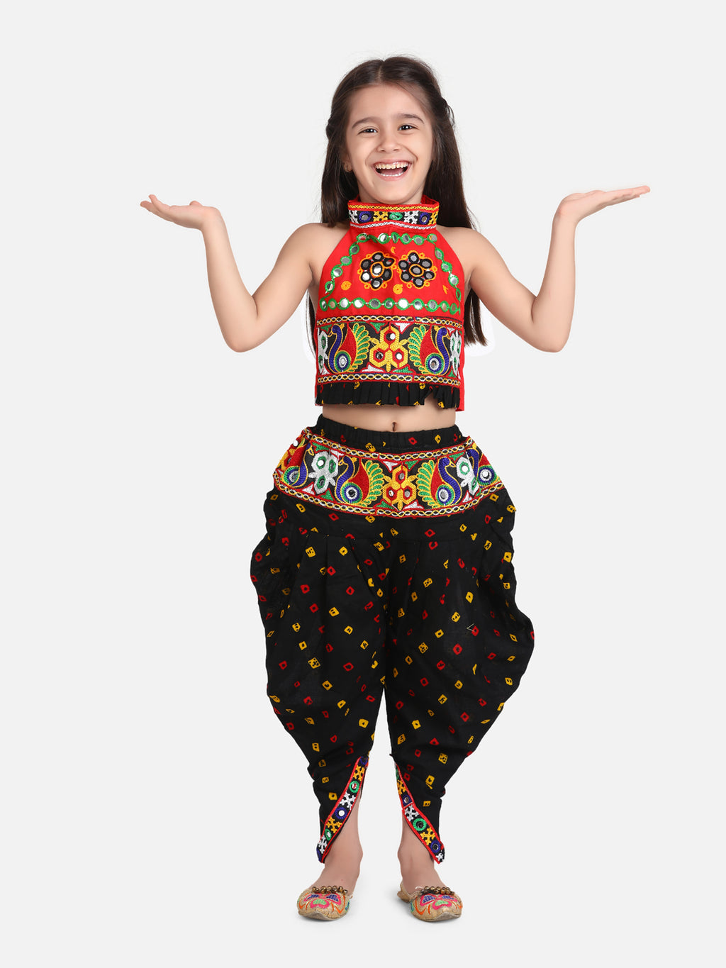Halter Neck Embroidery Top With Dhoti-Black