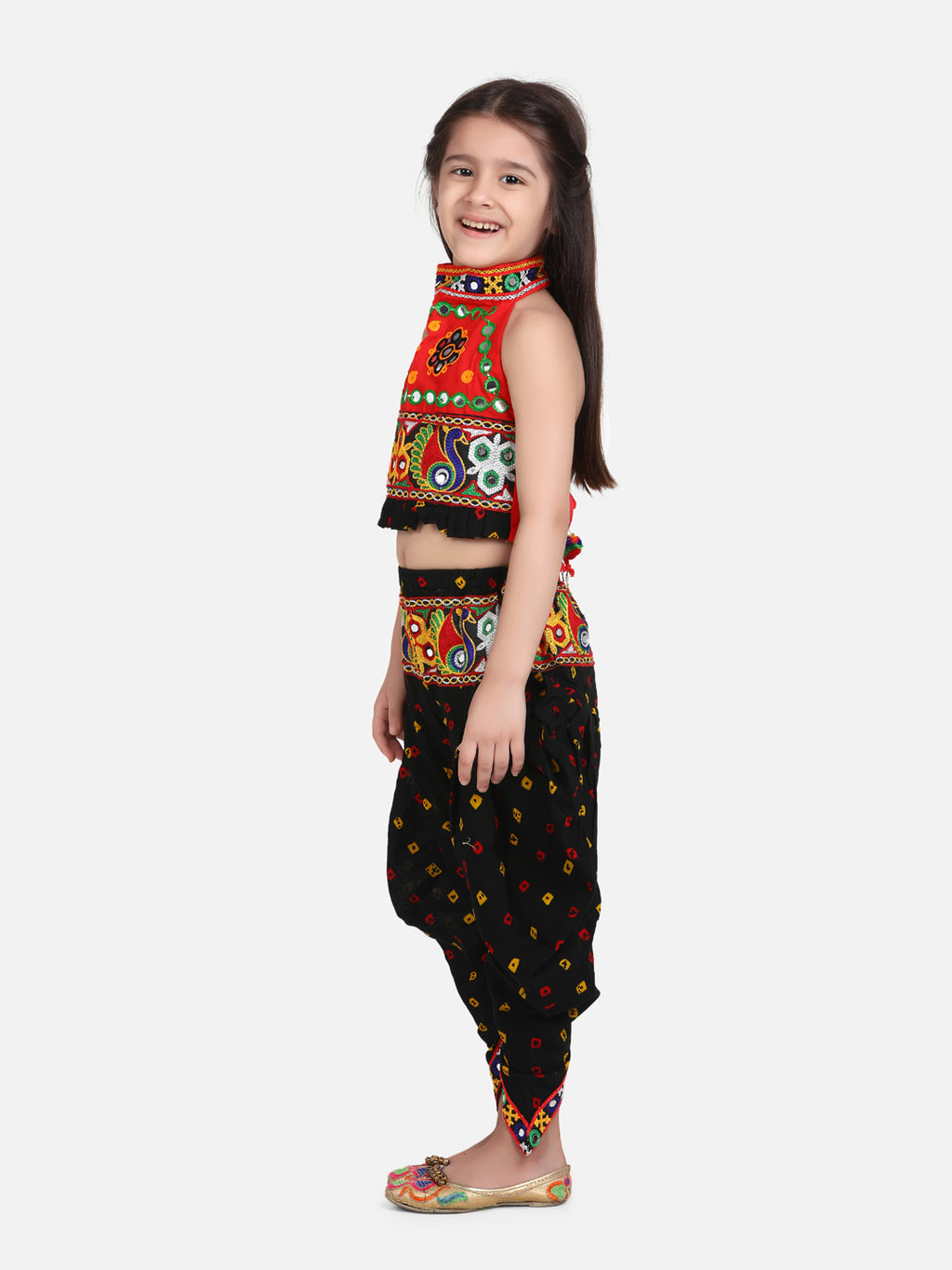 Halter Neck Choli With Dhoti-Black