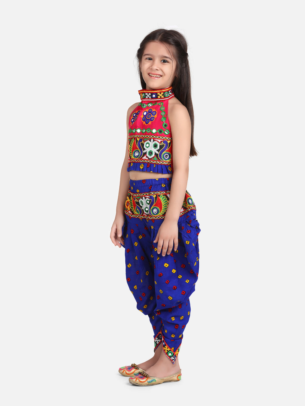 Halter Neck Embroidery Top With Dhoti-Blue