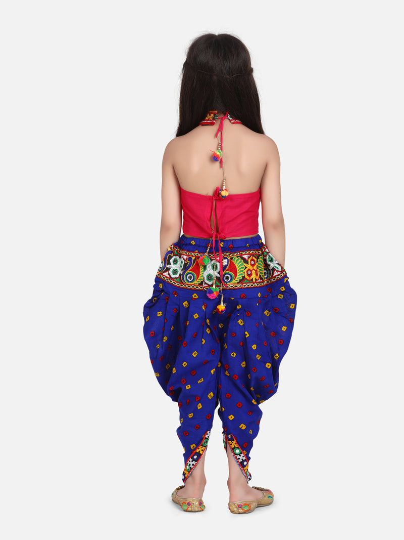 Halter Neck Choli With Dhoti-Blue