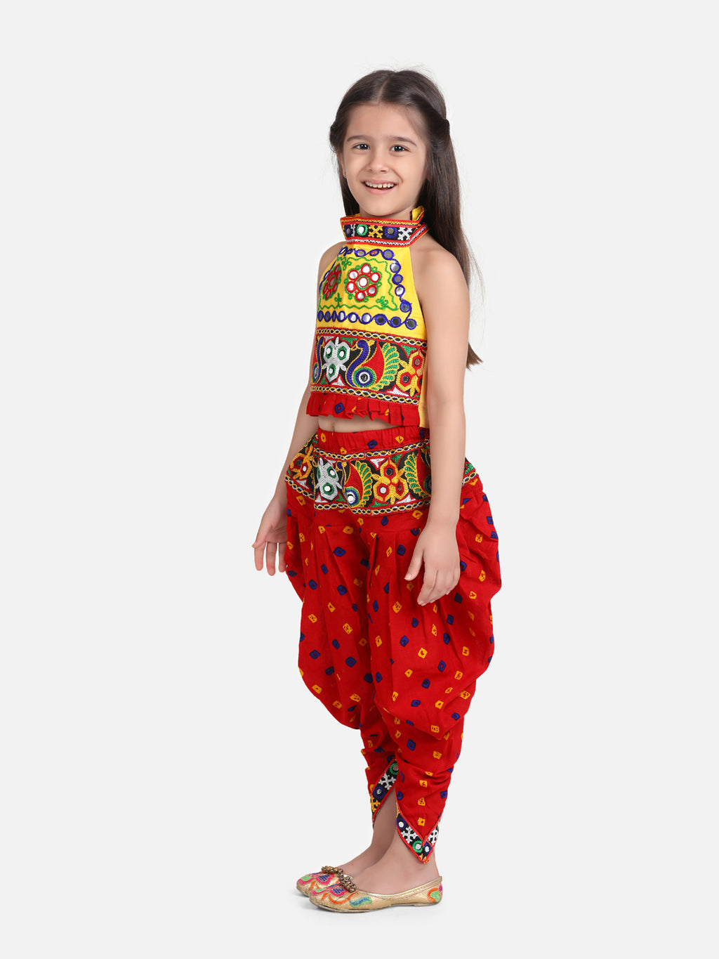 Halter Neck Embroidery Top With Dhoti-Red