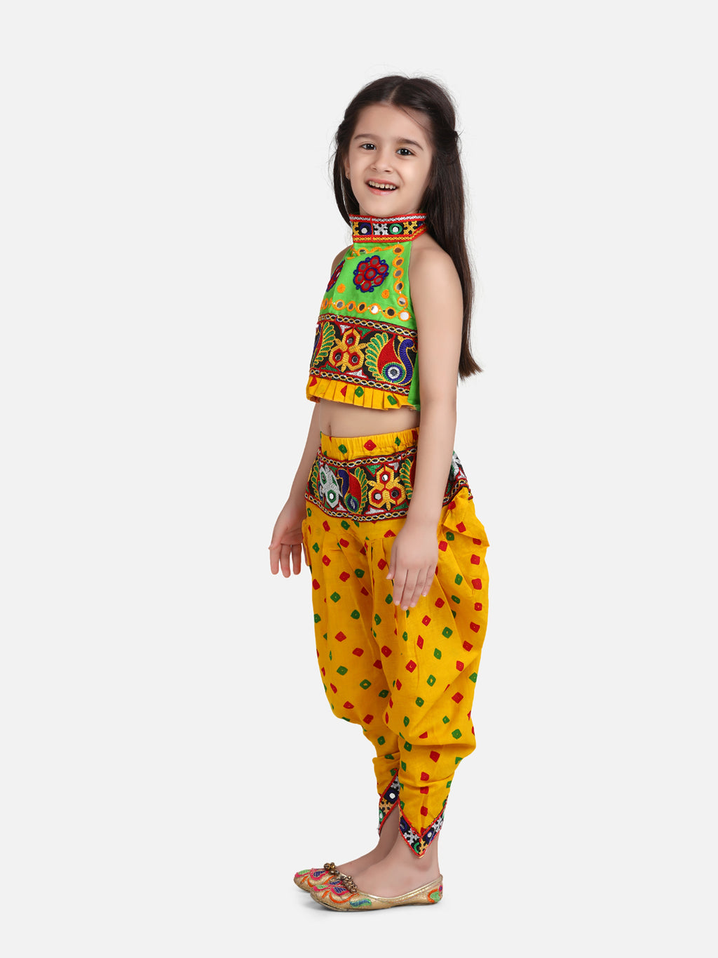 Halter Neck Choli With Dhoti-Yellow