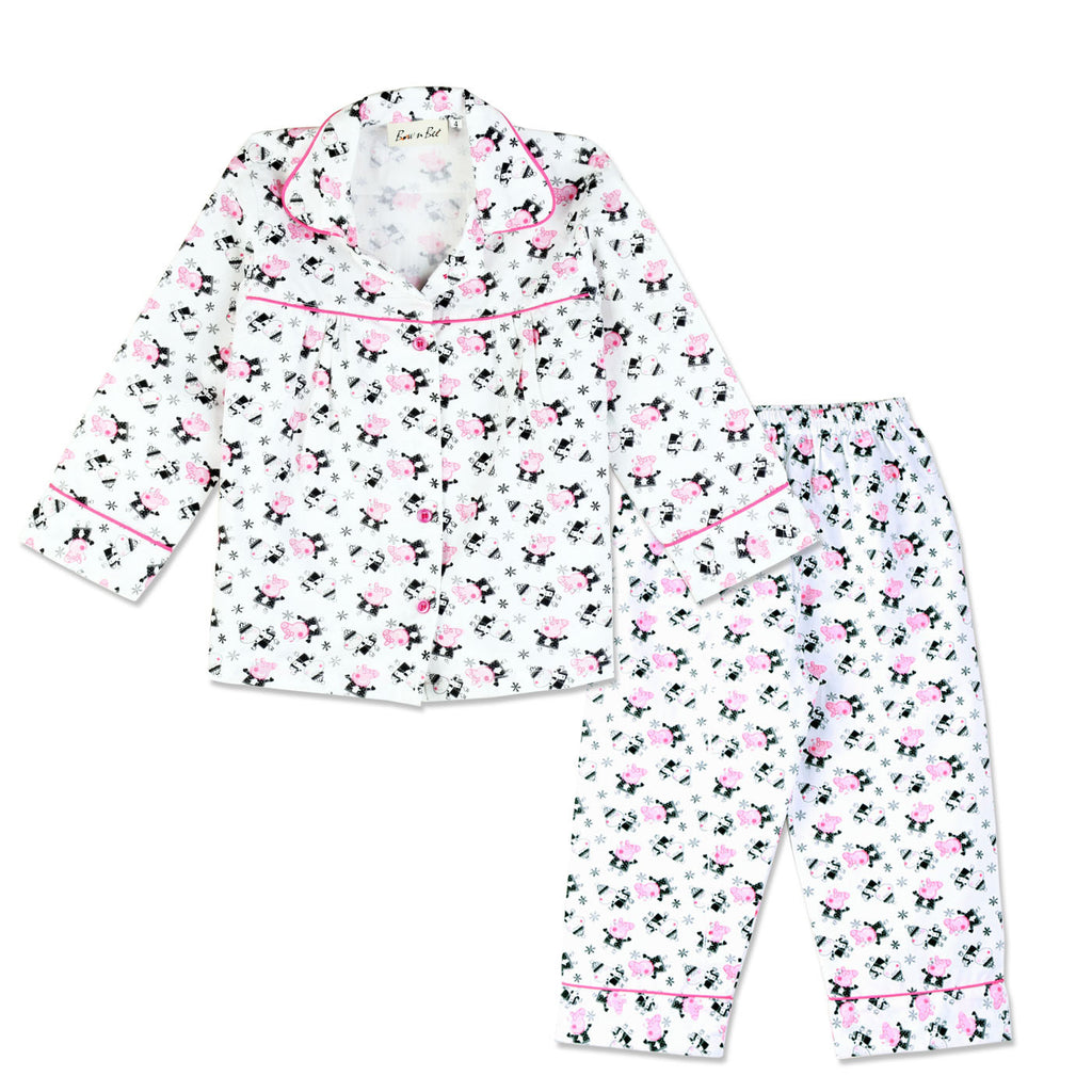 Peppa Piggy Night Suit - WHITE & PINK