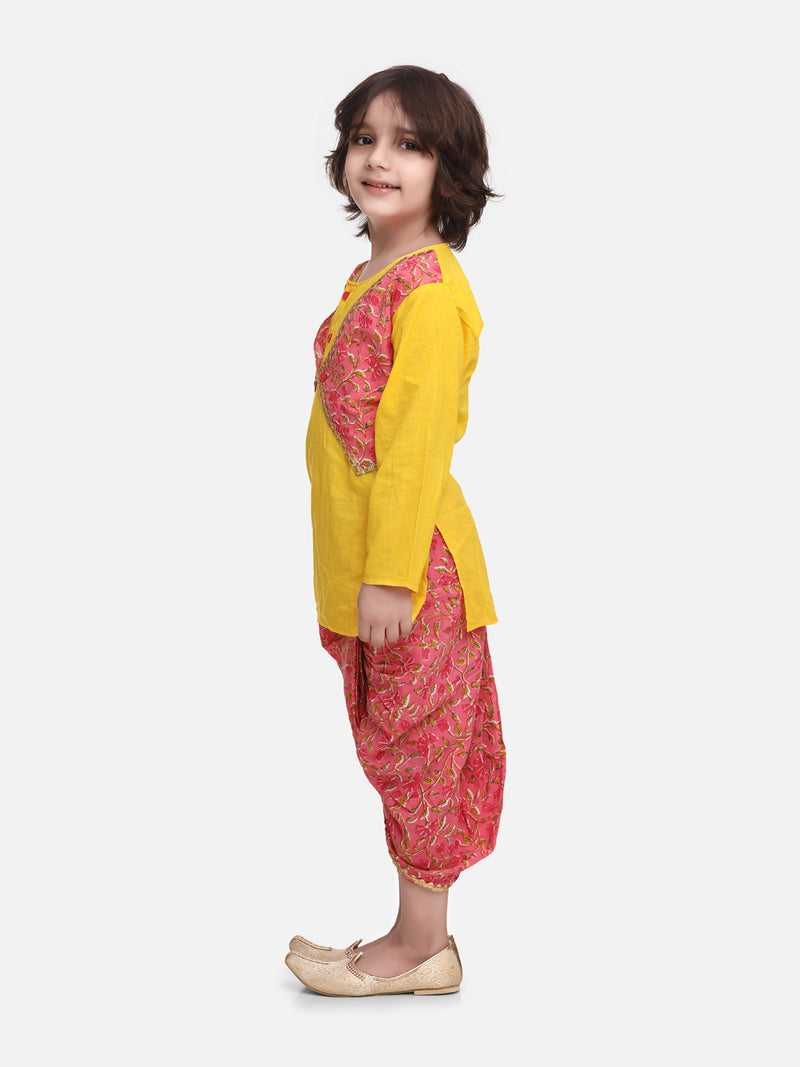 Block Print Jaipuri Cotton Dhoti Kurta-Yellow