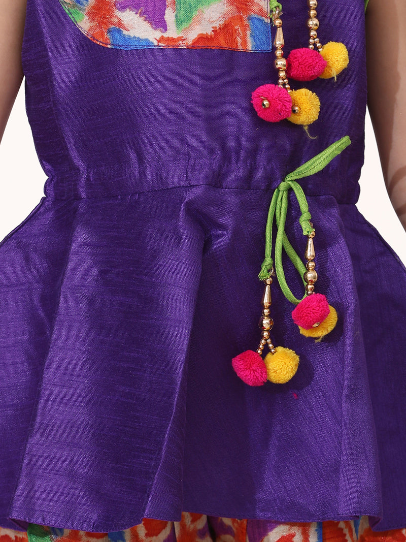 Triangle Print Patch Peplum Sleeveless Kurta & Dhoti Set-Purple
