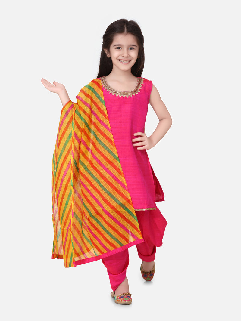 Silk Kurti Dhoti With Leheriya Dupatta For Girls-PInk