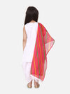 Silk Kurti Dhoti With Leheriya Dupatta For Girls-White