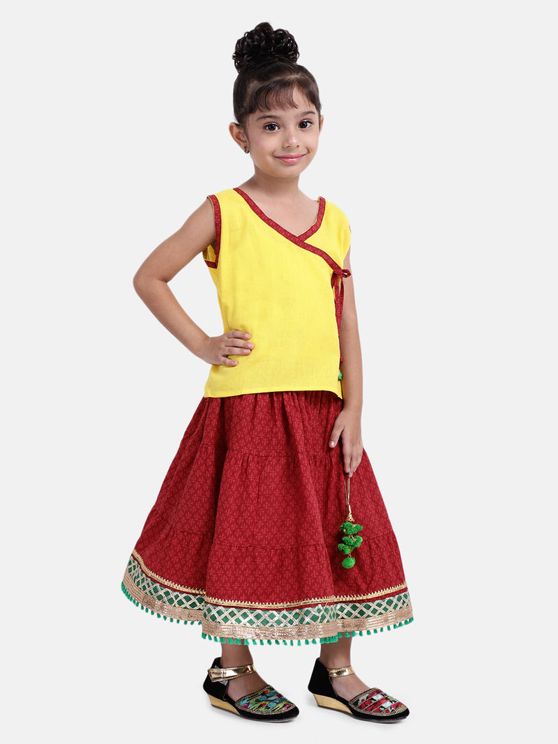 Sanganeri Print Cambric cotton Skirt  Top-Yellow