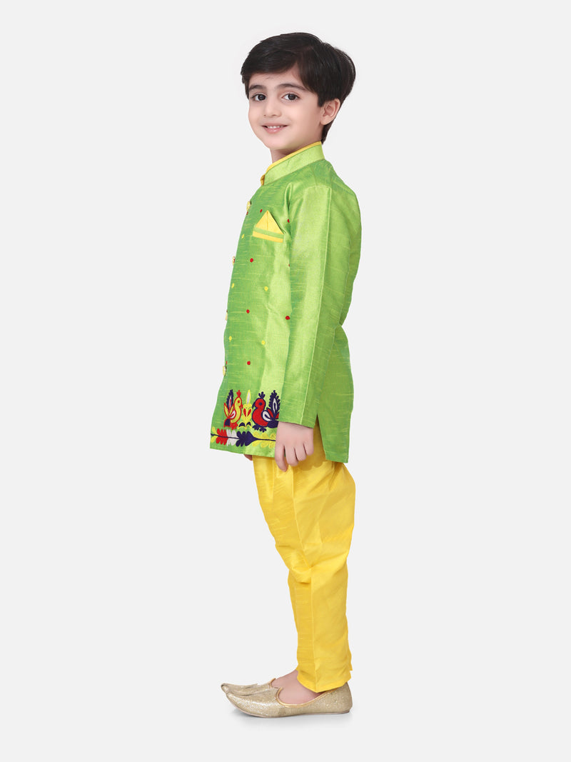 Hand Embroidered Mor Sherwani For Boys- Green