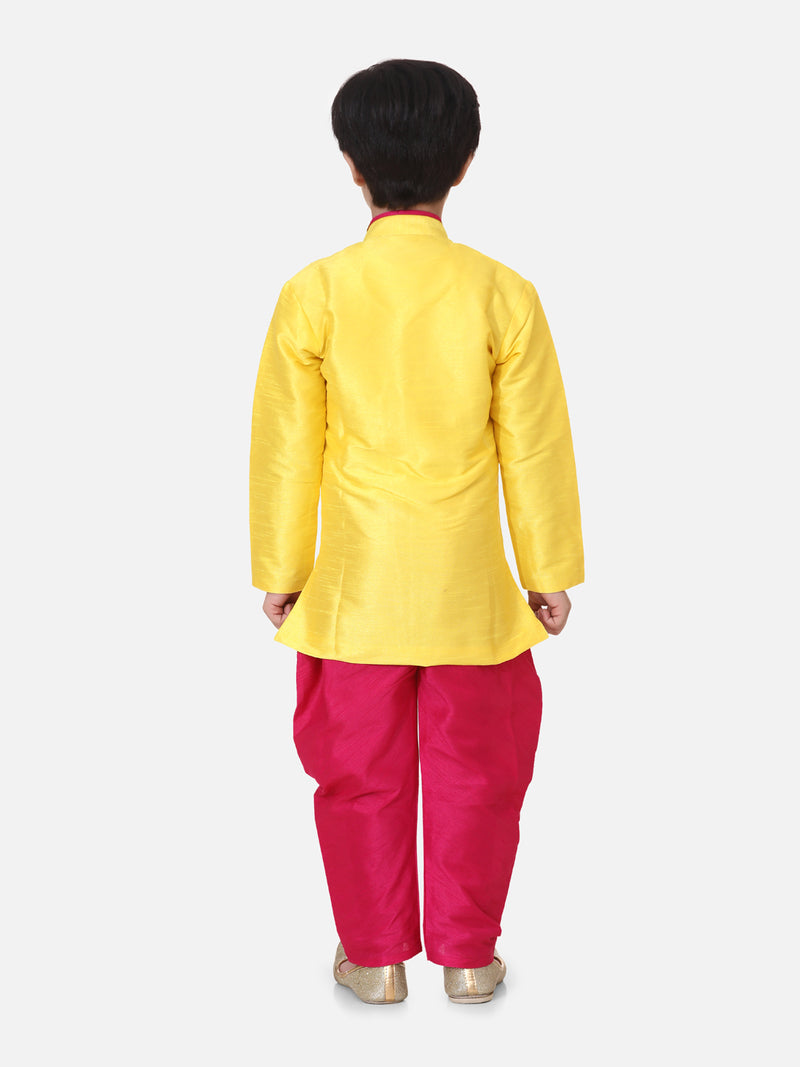 Hand Embroidered Mor Sherwani For Boys- Yellow