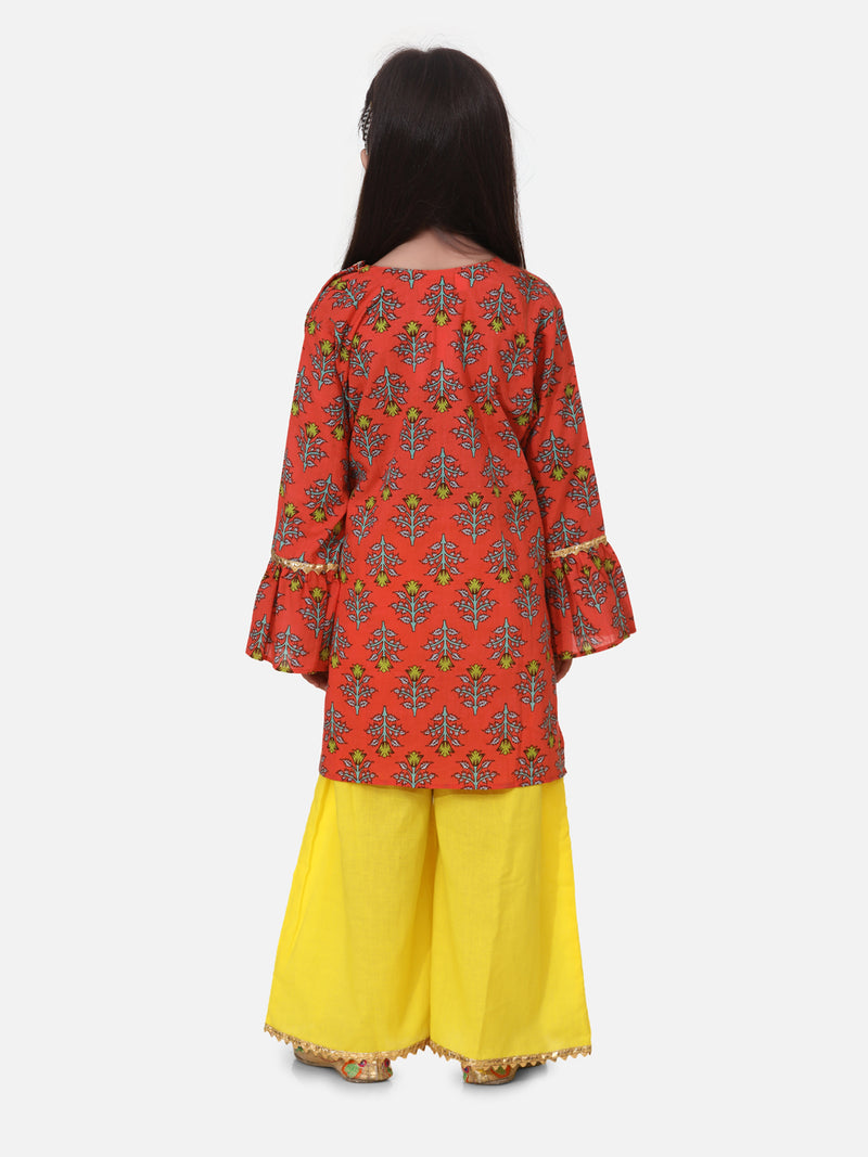 Hand Block Print Kurti Palazzo For Girls- Coral