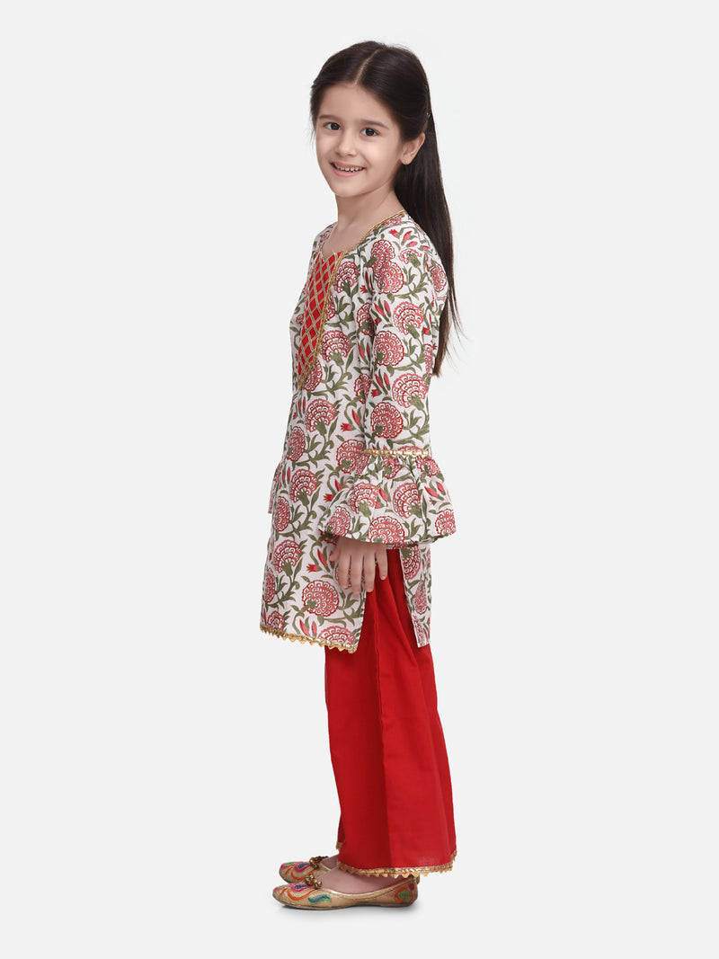 Hand Block Print Kurti Palazzo For Girls- Red