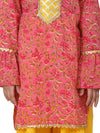 Hand Block Print Kurti Palazzo For Girls-Yellow