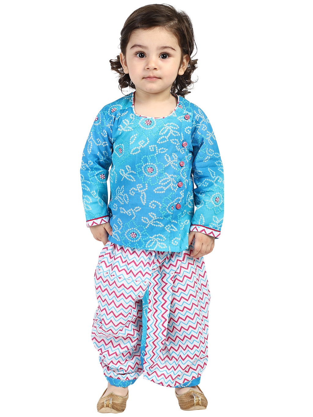 BownBee Front Open Full Sleeve Infant Dhoti Kurta-Blue