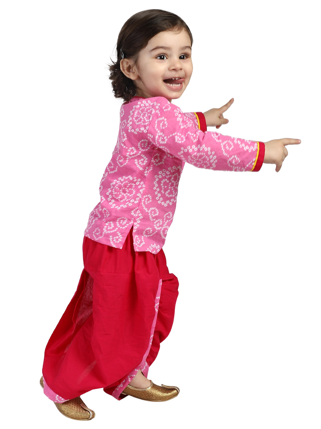 BownBee Front Open Full Sleeve Infant Dhoti Kurta-Pink