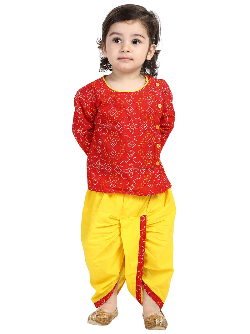 BownBee Front Open Full Sleeve Infant Dhoti Kurta-Red