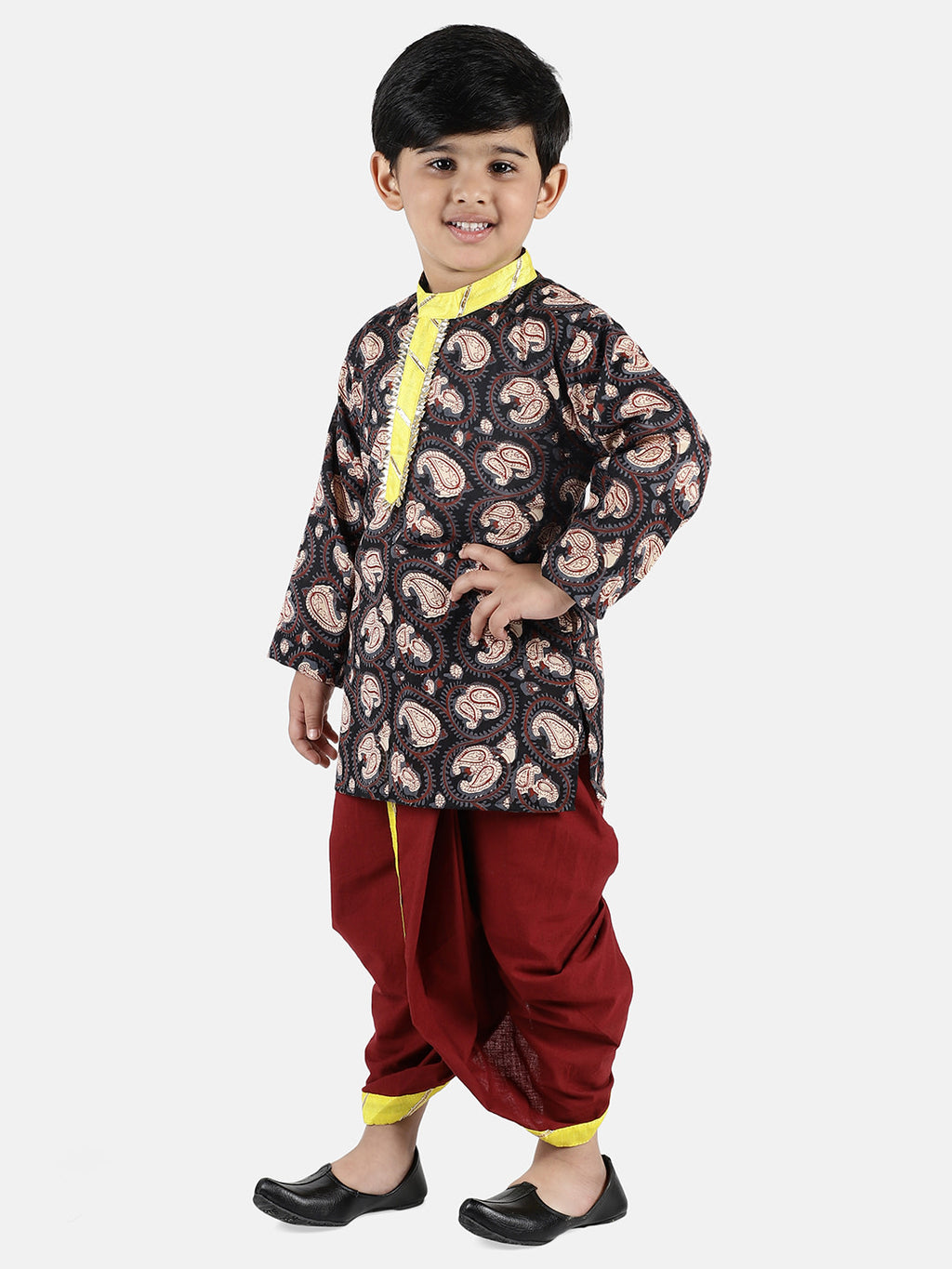Jaipuri Print Cambric Cotton Dhoti Kurta-Brown