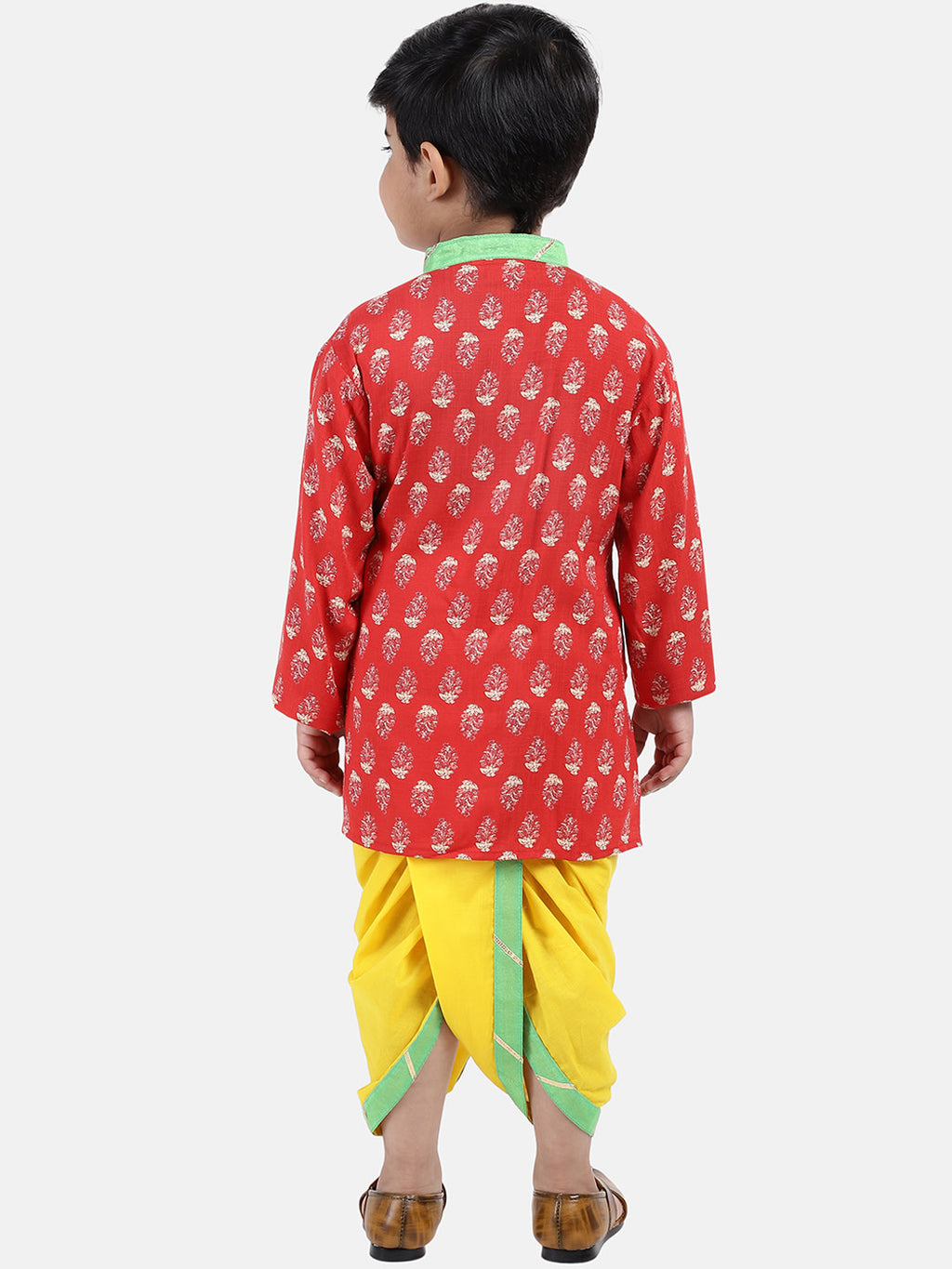 Jaipuri Print Cambric Cotton Dhoti Kurta-Red