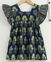 Ruffle Sleeve Pure Cotton Frock For Baby Girls-Indigo