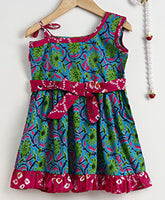 One Shoulder Pure Cotton Frock For Baby Girl-Green