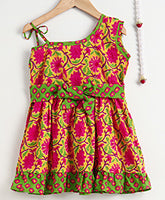 One Shoulder Pure Cotton Frock For Baby Girl- Yellow