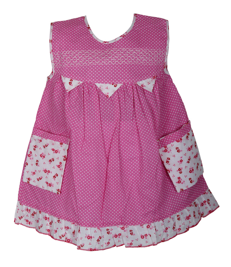 BownBee Polka Love Cotton Dress - Pink