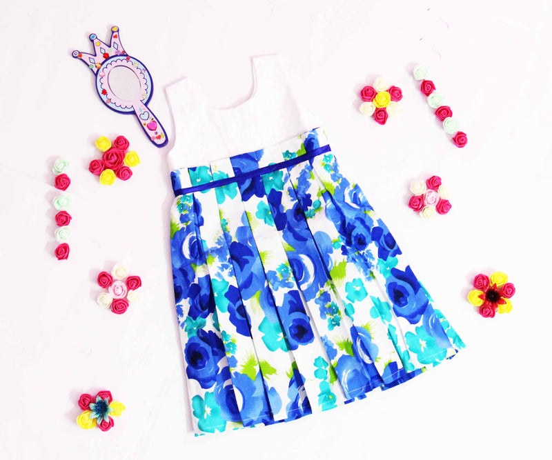 Floral Blue Dress with Bow