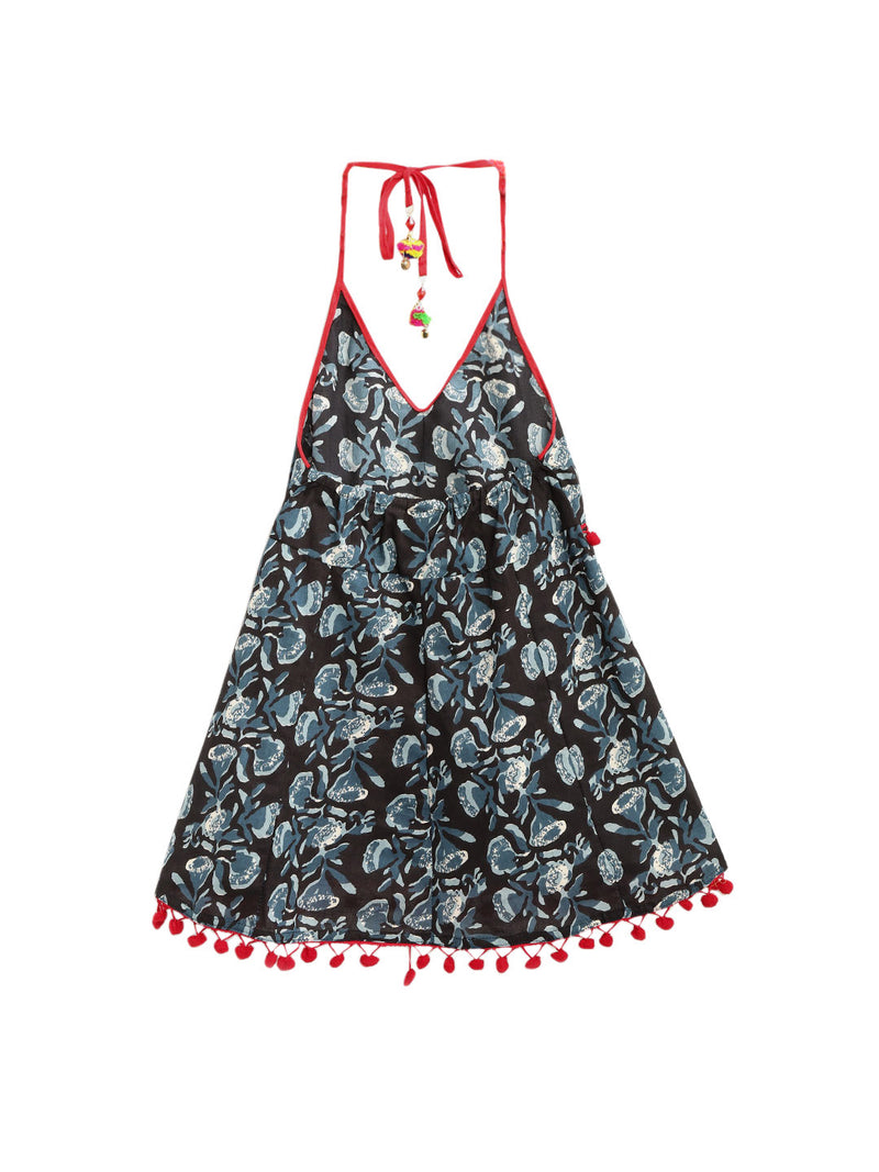 Jaipuri Marigold Print Cambric Cotton Halter Neck frocks for Baby Girl - Black
