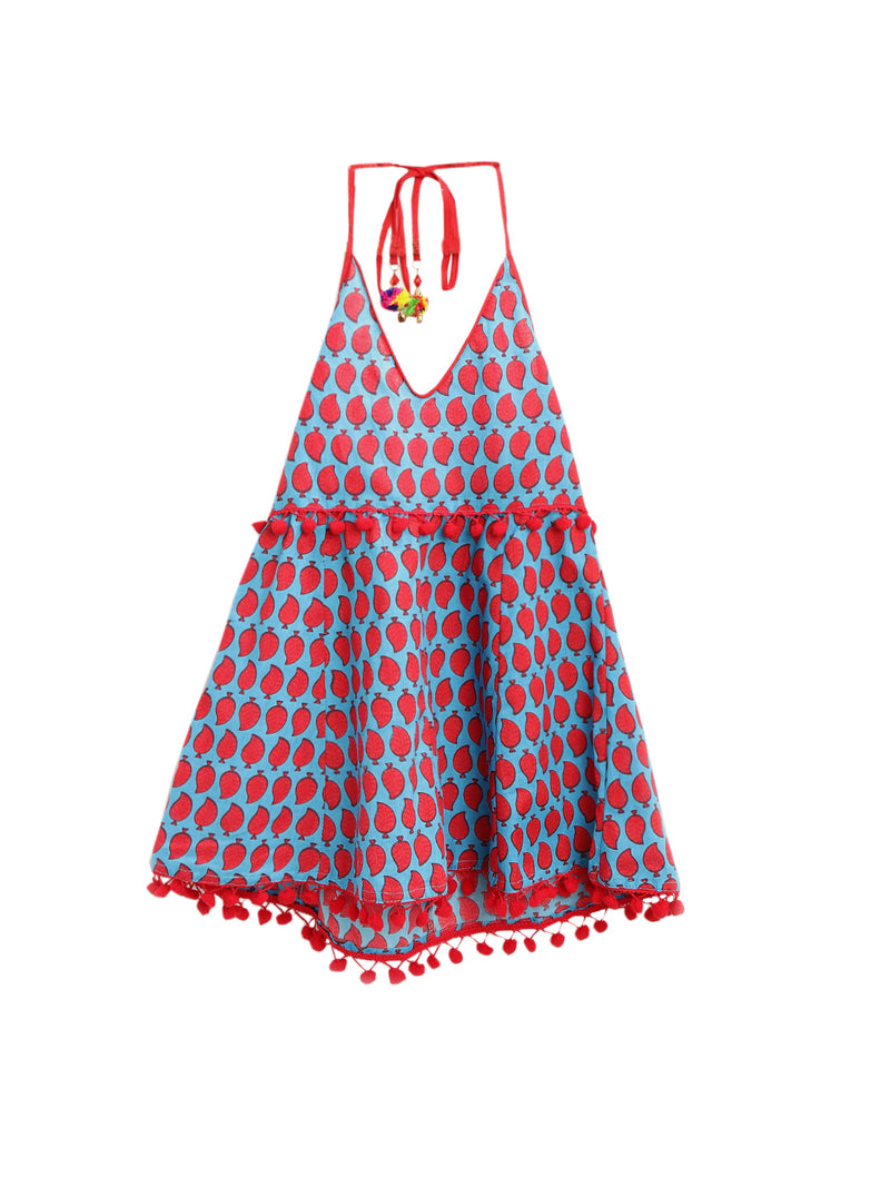 Jaipuri Marigold Print Cambric Cotton Halter Neck frocks for Baby Girl - Sky Blue
