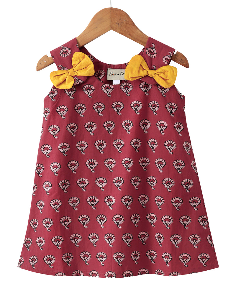 Sanganeri Print A-line Cotton Dress For Baby Girl - Maroon