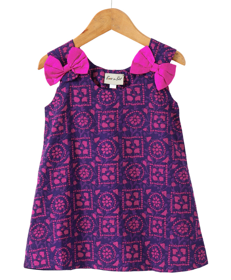Sanganeri Print A-line Cotton Dress For Baby Girl -  Purple