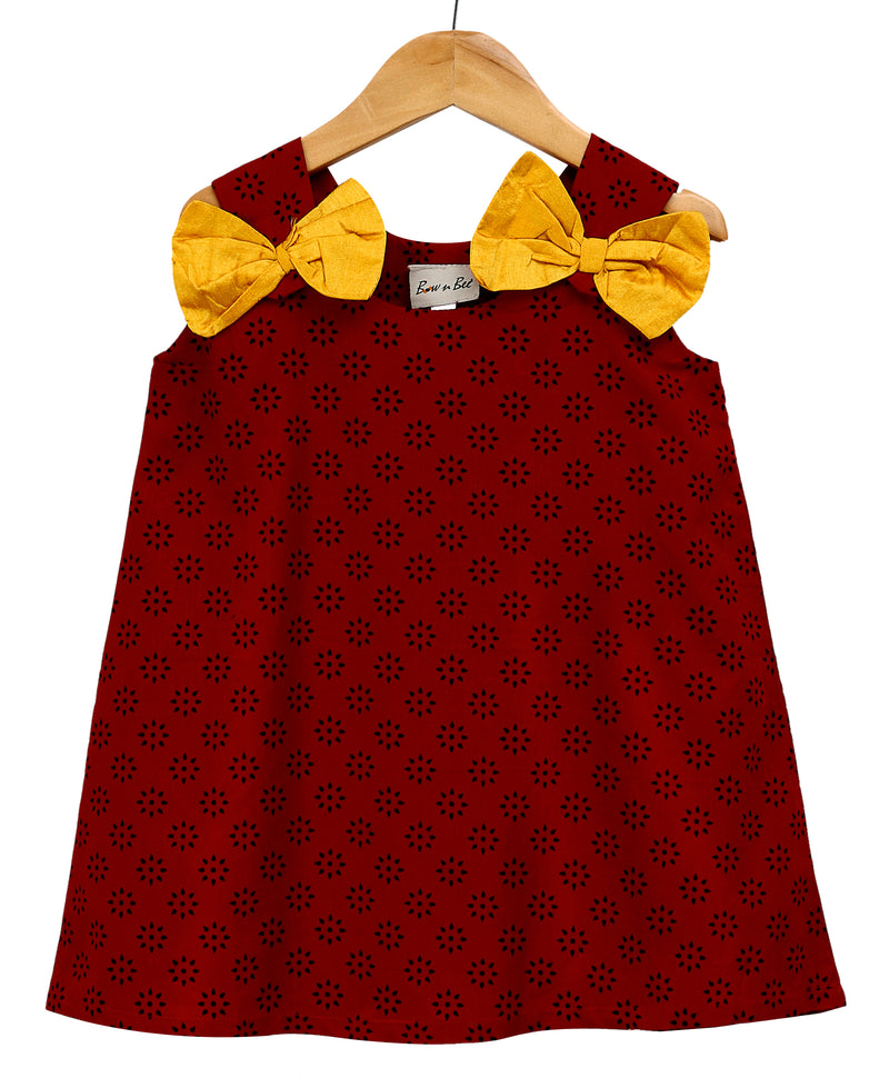 Sanganeri Print A-line Cotton Dress For Baby Girl - Red