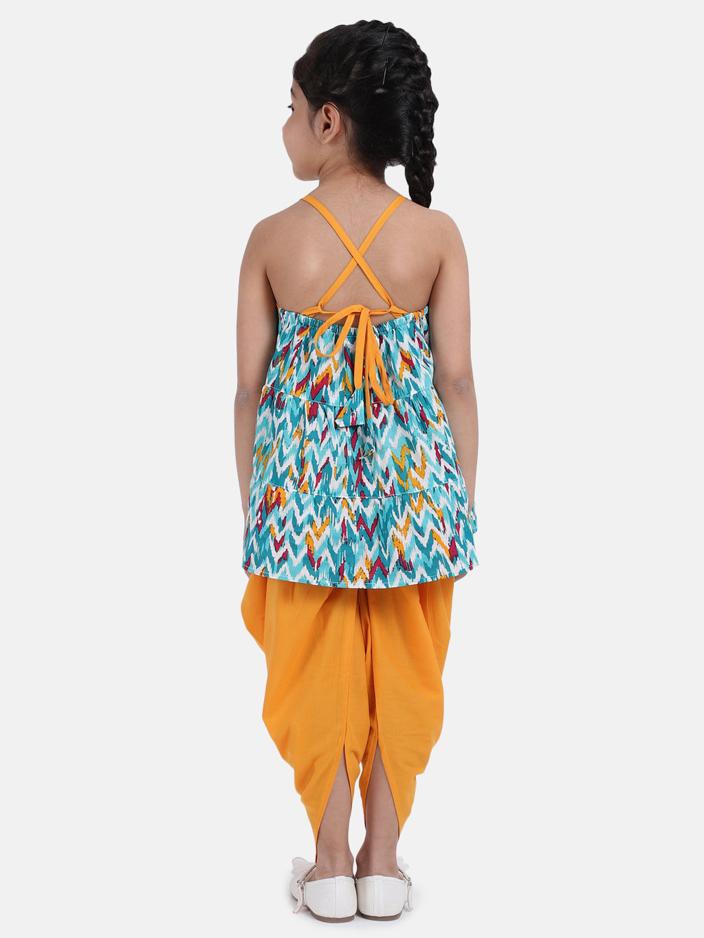 Cambric Cotton Halter Neck Top Dhoti For Girls-Blue